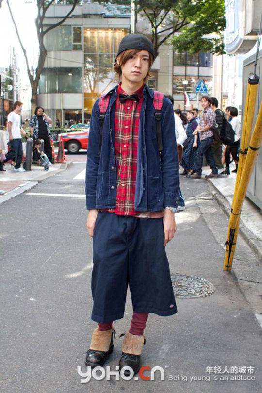 街头男生背书包头像