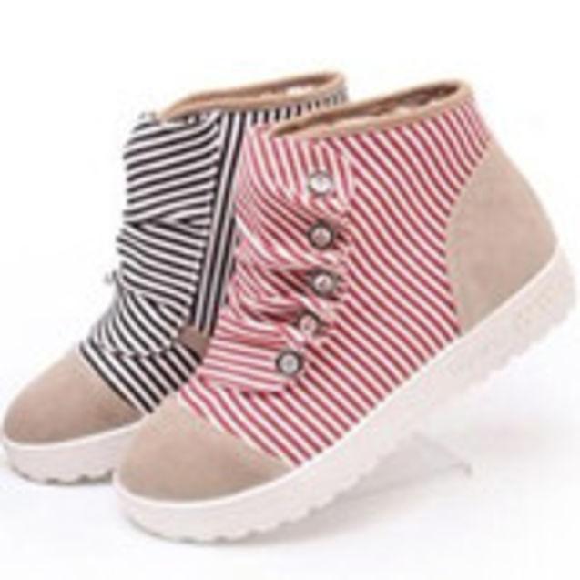 个性 街拍/2012新款平底高帮鞋布面色拼接纽扣装饰舒适休闲女式单鞋女鞋子