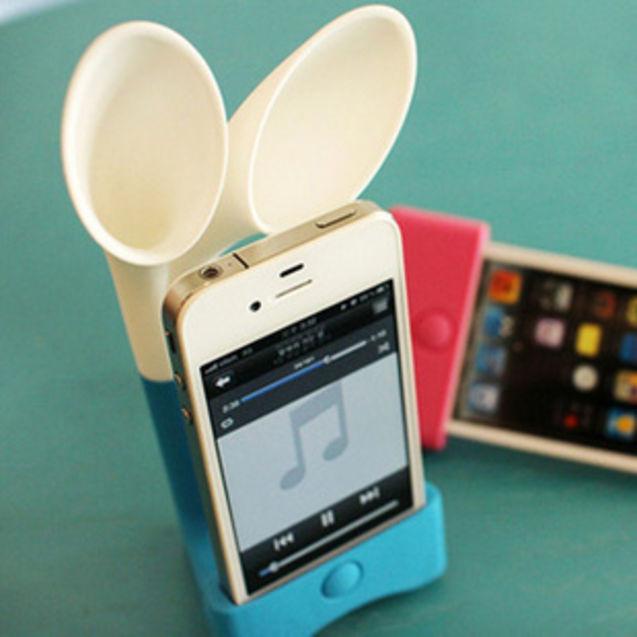 创意 苹果/苹果韩国兔子耳朵喇叭iphone4 4s 硅胶底座扩音器支架扬声器