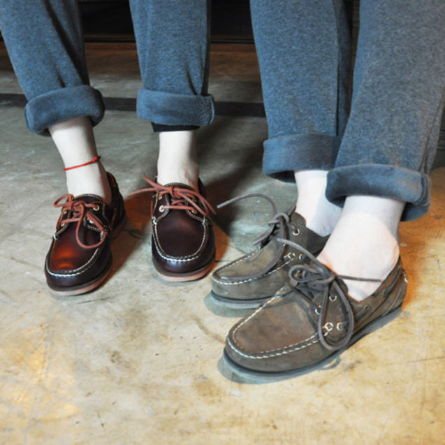 欧美 街头/女鞋欧美街头休闲中性头层牛皮帆船鞋 休闲鞋酒红棕三色