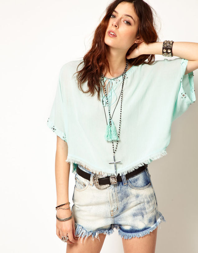 美丽 短袖/薄荷绿,波西米亚流苏钉珠短袖上衣