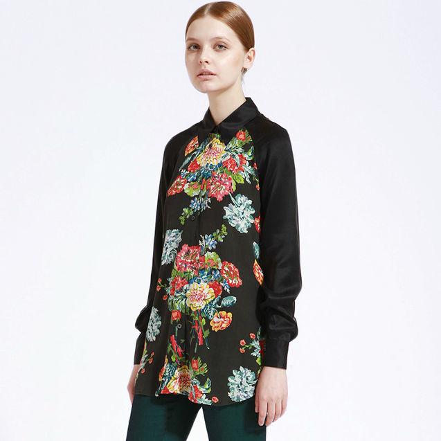 个性 衬衫/玫瑰与牡丹对花工艺 真丝印花衬衫衬衣