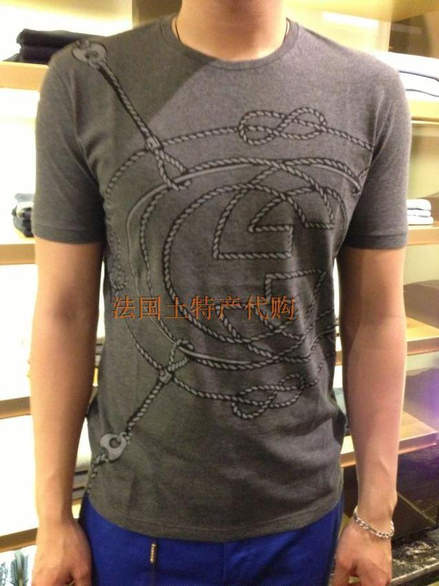 新款 logo 经典/法国代购gucci 古奇 2013春夏新款男式经典大logo印花短袖T恤