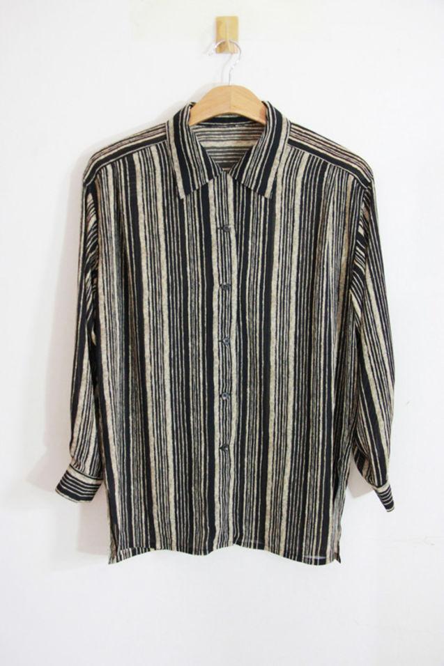 黑白/¥40.00特价!vintage 复古 真丝衬衣 超薄舒适黑白条纹简约