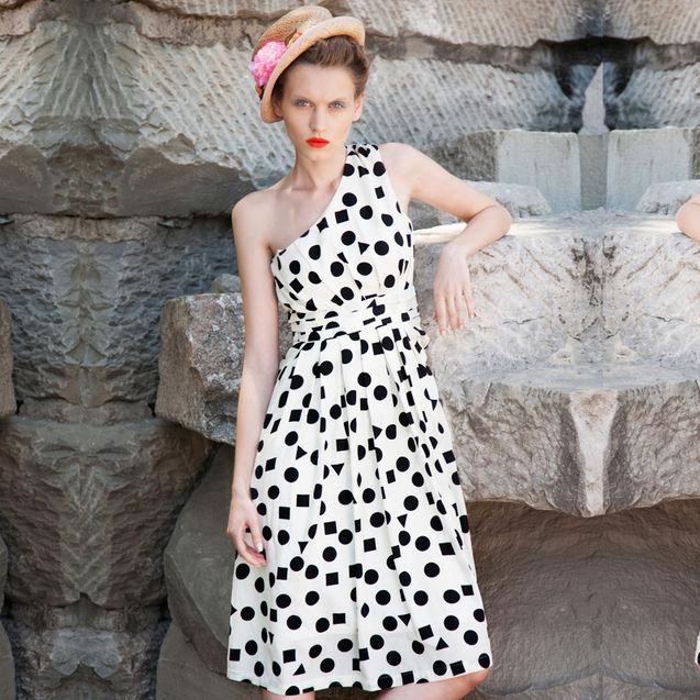 欧美 性感 时尚/两三事我的女孩2013新款女装夏装欧美时尚性感单肩连衣裙