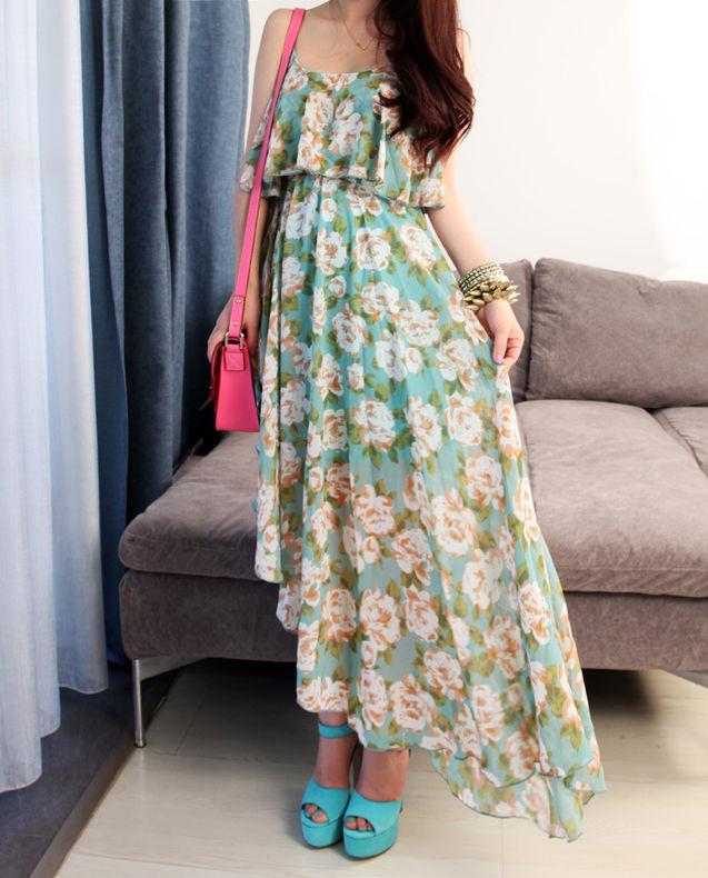 绿色 花朵 黑色 日本 薄荷/薄荷绿冰淇淋色花朵吊带高腰不规则下摆长裙连衣裙