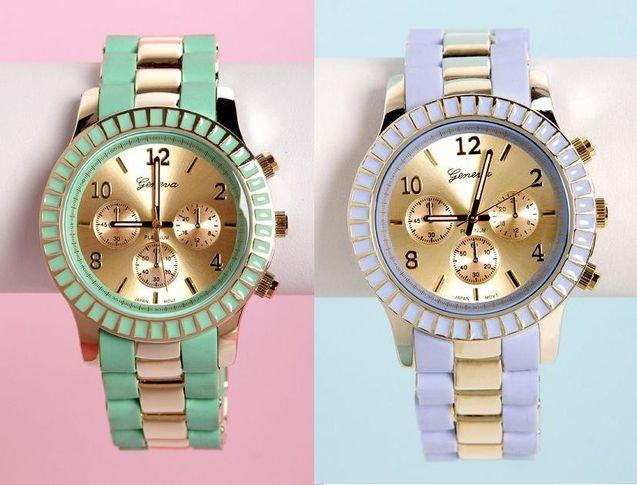 欧美 薄荷/美国代购㊣vintage欧美复古洛丽塔田园薄荷绿紫罗兰双色女式手表