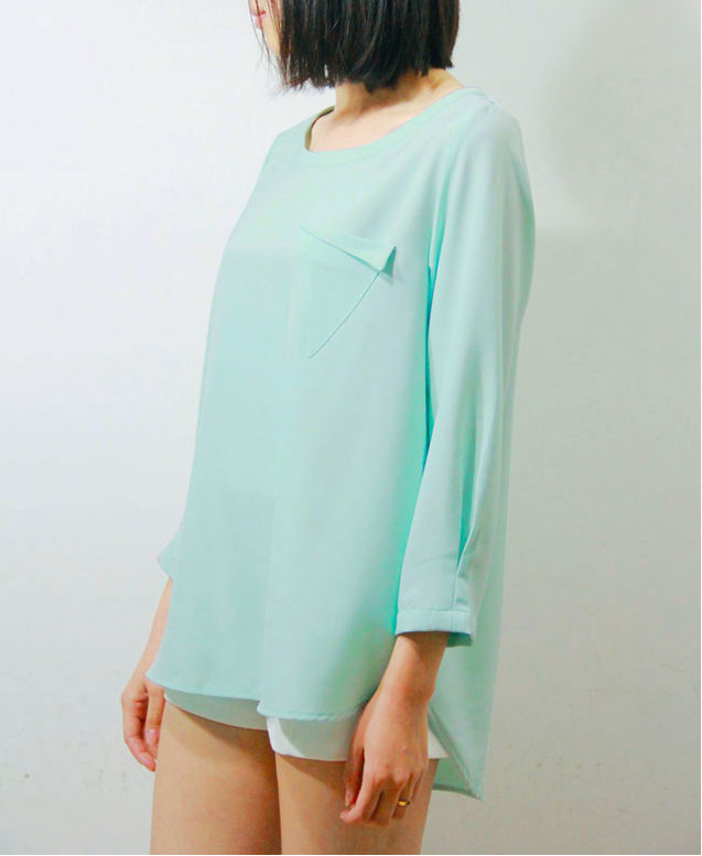 清新/LSD 春夏新色清新薄荷绿基本雪纺简洁长衬衫T