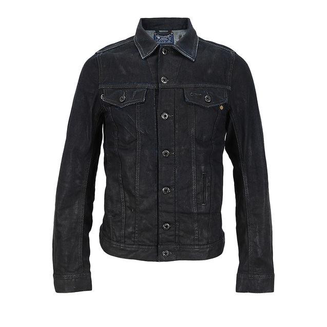 黑色/DIESEL迪赛深蓝色混合材质黑色涂层男士#牛仔#外套
